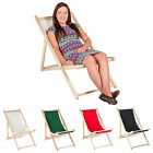 Garden Patio Folding Wooden Deck Chair - Choice of Colours
