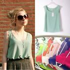 New Korean Womens Slim Chiffon Tops Sleeveless Fashion Shirt Casual Blouse Vest