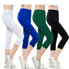3/4 Length Leggings Skinny Pants Stretch Jeggings Cropped Trouser All Sizes 6-24