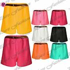 Womens Ladies Sexy Girls Textured Neon Party Crepe Belted Hot Pants Mini Shorts