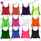 Womens Ladies Celeb Flared Thin Strap Plain Camisole Swing T Shirt Vest Crop Top