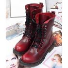 4 Color US Size 5-9 New Combat Leather Lace Up Womens Military Ankle Boots Shoes