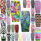 NEW WOMEN LADIES FLORAL HIGH WAIST TUBE WIGGLE PENCIL MIDI SKIRT STRETCH BODYCON