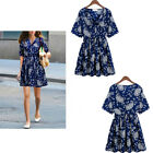 Fashion Chic Floral Print V Neck Short Sleeves Women's Tunic Mini Shirt Dress