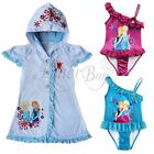 Girls Frozen Princess Elsa Anna Swim Bathing Suit Cover Up Swimwear Size 3T - 10