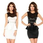 Sexy Ladies Sleeveless Studded Mesh Peplum Mini Dress Party Cocktail Club Wear