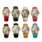 Vintage Women Men Floral Rose Big Dial Pu Leather Band Quartz Anlog Wrist Watch