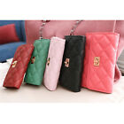 "Women""s Clutch Purse Long Quilted Lock Wallet Holders   [HA]"