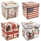 Stabile faltbare Aufbewahrungsbox Motiv London Paris USA UK Flagge Hocker NEU