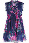 Yoursclothing Womens Plus Size Floral Print Scooped Frill Chiffon Tunic