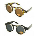 VTG 50's Style Flip Up Tortoiseshell Steampunk Sunglasses Retro Round Glasses