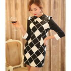 Plaids Tunic Lapel Collar Bodycon Wrap Office Lady Short Mini Pencil Dress