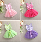 Kids Baby Girl Toddlers Children Striped Tutu Party Dresses Outfit Clothing Set