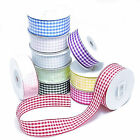 Gingham Ribbon - Woven edge, 1 metre sample length, choose width and colour