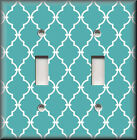 Light Switch Plate Cover - Turquoise White Trellis Moroccan Home Decor