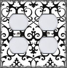 Metal Light Switch Plate Cover - Intricate Scroll Black And White Home Decor