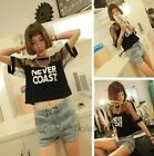 Fashion  Loose Crop Top Blouse Short  Crew Neck T-Shirt Sleeve See-through Tops
