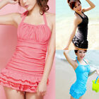New Women's Sexy Swimwear One Piece Swimsuit Halter Backless Tiered Suit Skirt