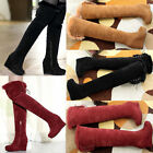 Ladies Fur Lining Platform Wedge Faux Suede Round Toe  Over Knee High Snow Boots