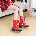 Ladie's Stunning Patent Leather Ankle Boots Lace Up Casual Flat Booties 6 Colors