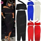 Womens Ladies Off Shoulder Crop Top Celebrity Pockets Front Cut Maxi Skirt Set