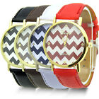 PRETTY NICE FAUX LEATHER UNISEX WOMAN MAN STRIPES ANALOG QUARTZ WRIST WATCH