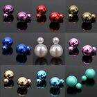1pair Jewellery Runway Double Pearl Beads Plug Earrings Ear Studs Pin Bubble