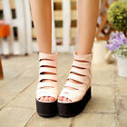 UK2-8 Womens Ankle Boots Gladiator Punk high platform cut out goth sandals NEW