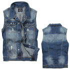 Men's Casual Denim Vest Denim Coat Boy's Waistcoat Outwear Sleeveless Tops M32