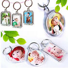 1/5/10X Transparent Blank Keyring Insert Photo Picture Frame Split Keychain Gift