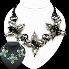 vintage antique jewellery glass crystal rhinestone flower black bib necklace