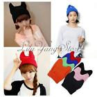 Women Cute Warm Winter Ski Cat Ear Horn Shape Beanie Cap Knitted Punk Pussy Hat