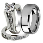 Nice 3 Pcs Her & His Stainless Steel Couple Wedding Engagement Ring Band Set