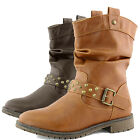 Top Moda Club-21 Grey Western Slouch Cowboy Ankle Combat Round Toe Casualboots
