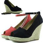 Women Fashion Sandal Cute Wedge Ankle Strap Denim Straw Platform High Heel Shoes