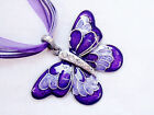 Charms Girl/Lady Crystal Butterfly Pendant Long Chain Necklace Gift Jewelry New