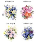 4 Flower Daisy Rose Violet Tulip Bouquet Butterfly Waterslide Ceramic Decals Tx image