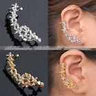 Punk Rock Gótico Pendiente Oreja Ear Cuff Clip On Earrings Wrap Flor No Piercing