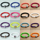 Leather Charm Wrap Wristband Cuff Magnetic Rhinestone Buckle Bracelet Bangle