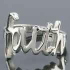 "Size 7-12 Punk Biker Stainless Steel Carved ""Faith"" Men's Finger Ring Jewelry"