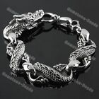 Men's Tibetan Silver Bronze Punk Biker Gothic Metal Dragon Carved Bracelet Gift