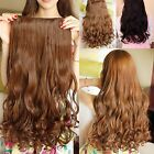 Full head Clip in Synthetic Human Hair Extensions Long Wavy Curly Hair 5Clips