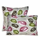 ai01a Light Green Wine Red on Pale Grey Leaf Cotton Fabric Cushion/Pillow Cover