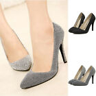 Ladies Pointy Toe Classic Pumps Stiletto Office Work Glitter High Heels Shoes