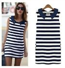 Womens Sexy Summer Sleeveless Slim Black White Stripe Stretch Tank Mini Dress