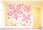 Wall Stickers Pink Flowers and Butterflies Children's Room Nursery Decorations