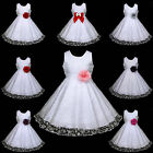 w468 UsaG w3 White Wedding Hotpink Deep Purple Red Grey Flower Girls Dress 2-12y