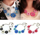 Hot Fashion Jewelry Flower Crystal Chunky Statement Bib Pendant Chain Necklace