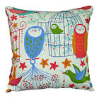 LL07a Red Blue Bird Owl on Beige Cotton Canvas Fabric Cushion Cover/Pillow Case