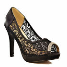 NEW Ladies Black Floral Lace Platform High Heel Rhinestone Peep Toe Shoes Size